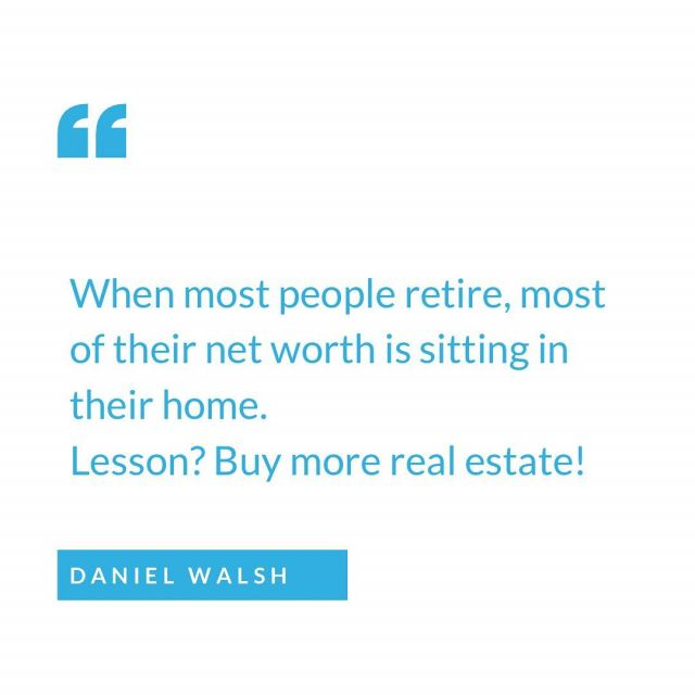 When most people retire, most of their net worth is sitting in their paid off property.  If most people just bought a few more properties that would be getting paid off by the tenant, they'd be sitting pretty! 🏡💸  Buy real estate & hold it!   #realestate #investor #longterminvesting #wealth #financialfreedom #propertyinvestment #property #investing